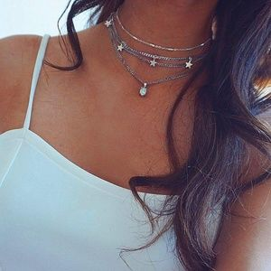 4/$25 Moonstone & Silver Stars Choker Necklace